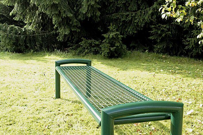 Sitzbank TORRE ohne Rückenlehne in RAL 6005 moosgrün