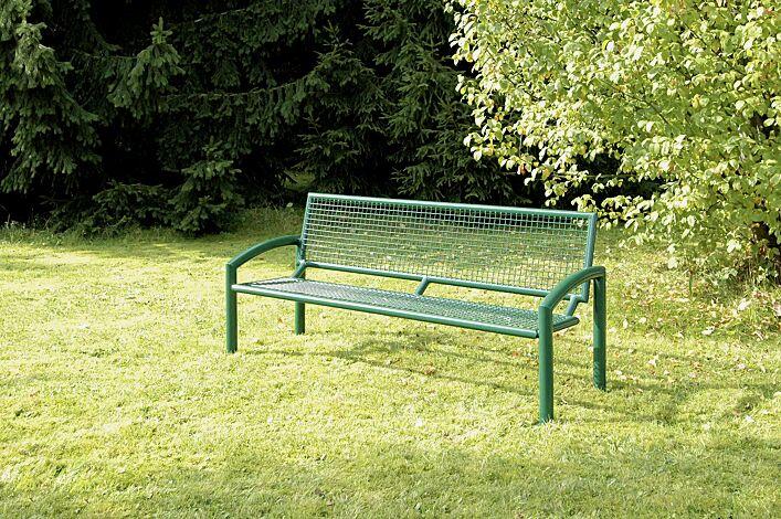 Sitzbank TORRE mit Rückenlehne in RAL 6005 moosgrün