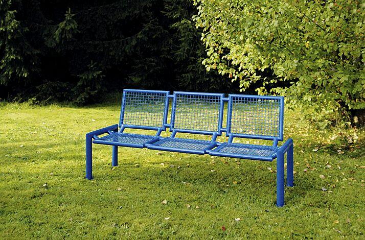 Sitzbank SEVERO mit Rückenlehne in RAL 5017 verkehrsblau