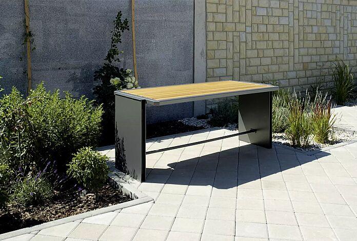 Tisch NATURA mit Holzbelattung, Stahlteile in RAL 7016 anthrazitgrau