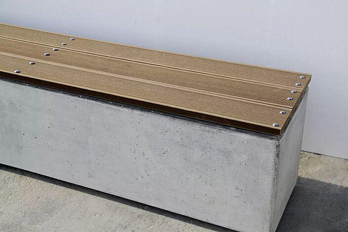 Sitzbank LITHOS ohne Rückenlehne, mit Kunststoffbelattung, Beton acrylgrau