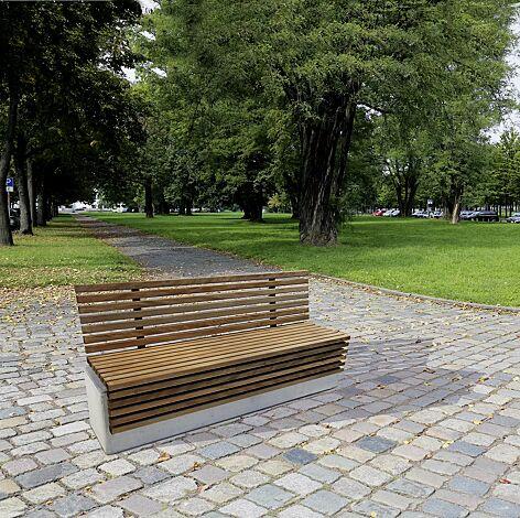 Sitzbank LITHOS WOOD mit Rückenlehne, mit Jatobaholzbelattung, Beton acrylgrau