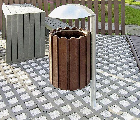 Abfallbehälter BROMLEY mit Schutzdach, zum Einbetonieren, mit Abfallsackhaltering (Zubehör)