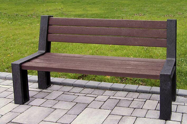 Sitzbank ODERZO mit Rückenlehne, aus Recyclingkunststoff