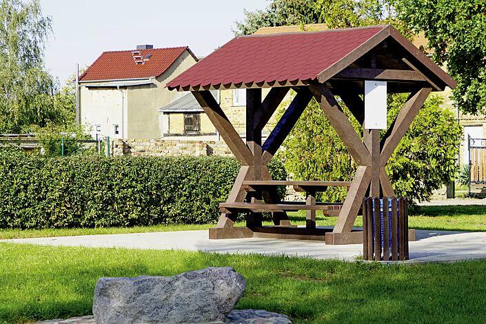 Rastplatzüberdachung BOTHY, Dachbreite x Dachtiefe 2800 mm x 2565 mm, inklusive Sitzbank und Tisch