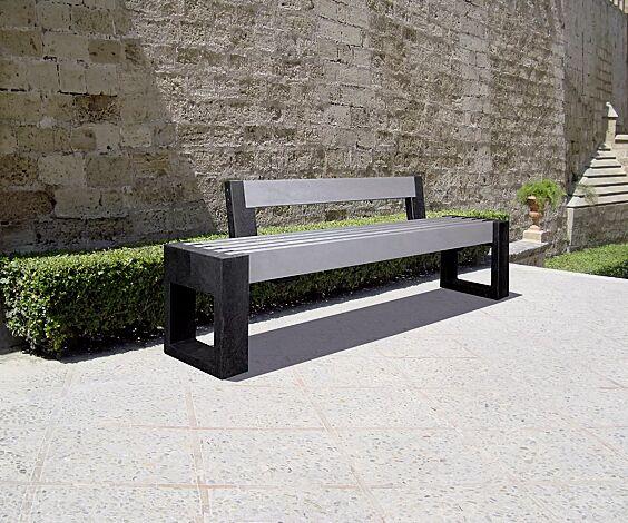 Sitzbank TERLANO mit Rückenlehne, Auflage in grau