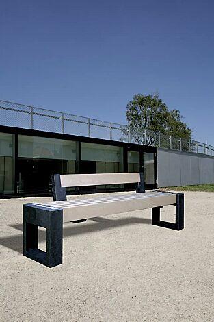 Sitzbank TERLANO mit Rückenlehne, Auflage in beige
