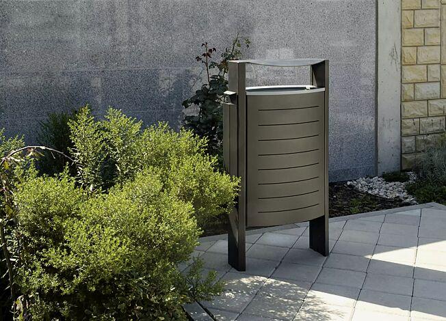 Abfallbehälter WALTON mit Ascher, Alugussring in weißaluminium ähnlich RAL 9006
