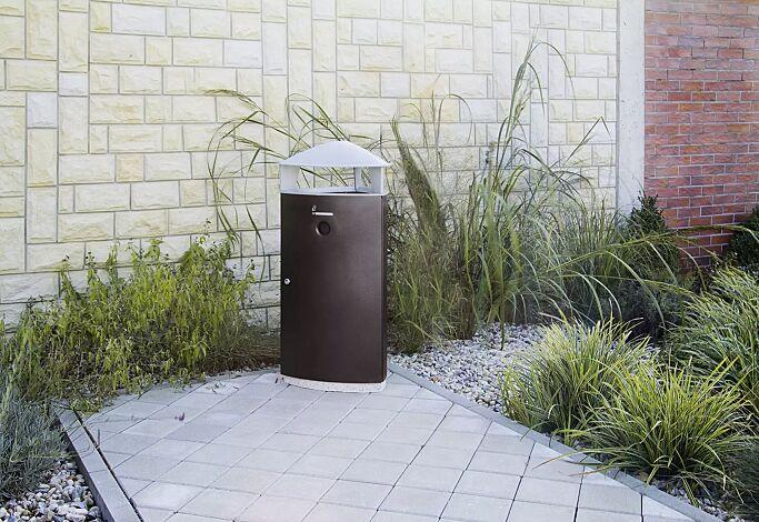 Abfallbehälter SOREL, mit Schutzdach und Ascher, Korpus in verkehrsgrau ähnlich RAL 7043