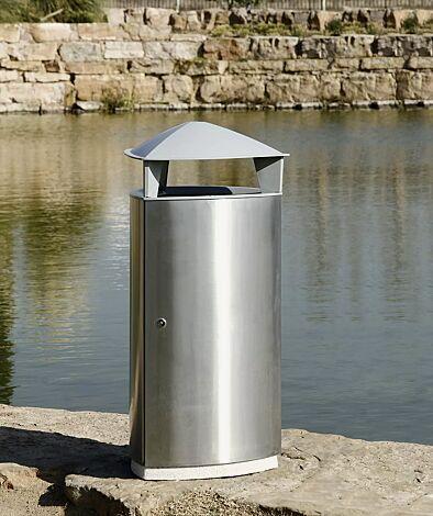 Abfallbehälter SOREL, mit Schutzdach, Korpus aus Edelstahl
