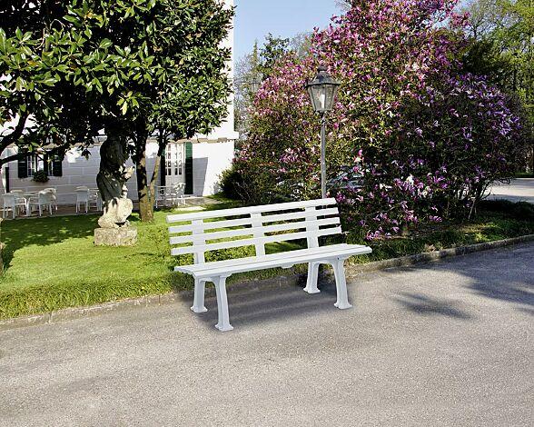 Sitzbank URBINO mit Rückenlehne, in weiß, Breite 1500 mm