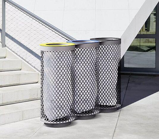 """<div id=""""container"""" class=""""container"""">Abfallbehälter AEROPORTO TRIO in RAL 7016 anthrazitgrau, mit farbigen Ringen (auf Anfrage)</div>"""