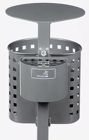 Abfallbehälter ASPEN, mit Lochoptik, in DB 703 eisenglimmer