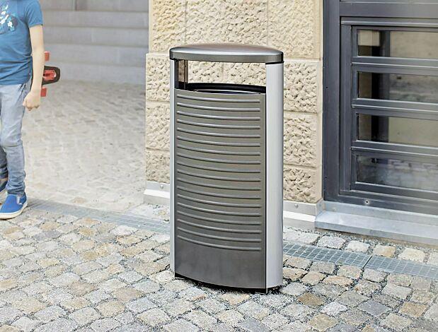 "<div id=""container"" class=""container"">Abfallbehälter BASIC in DB 703 eisenglimmer und RAL 9006 weißaluminium</div>"