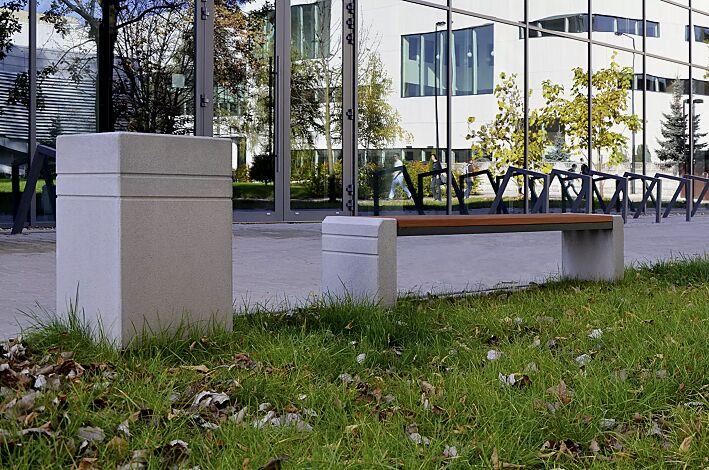 Abfallbehälter BRNO mit Ascher, ohne Schutzdach, Sitzbank BRNO auf Anfrage