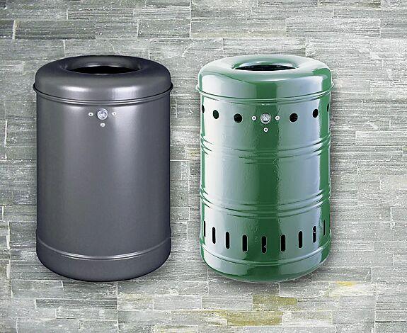 Abfallbehälter BURNABY, Vollblech, in RAL 7016 anthrazitgrau<br /> <br /> Abfallbehälter BURNABY, mit Lochoptik, in RAL 6005 moosgrün