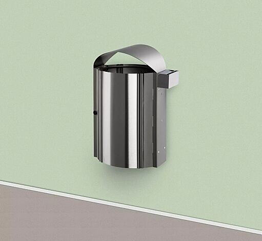 Abfallbehälter CALEDON aus Edelstahl, zur Wandbefestigung, mit Ascher (0,4 Liter)