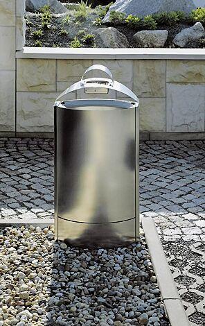 Abfallbehälter CAPITAL aus Edelstahl, mit Ascher (Mehrpreis)