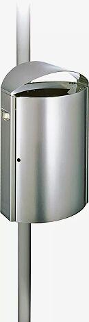 Abfallbehälter CAPITAL, 50 Liter, zur Pfostenbefestigung, aus Edelstahl, mit Ascher (Mehrpreis)