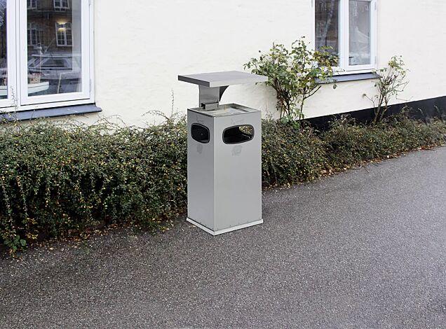 """<div id=""""container"""" class=""""container"""">Abfallbehälter CASTLE mit Ascher, 38 Liter, aus Edelstahl</div>"""