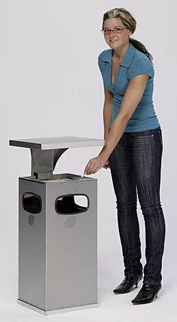 Abfallbehälter CASTLE mit Ascher, 38 Liter, aus Edelstahl