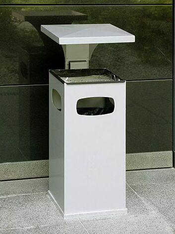 Abfallbehälter CASTLE mit Ascher, 38 Liter, in weißaluminium ähnlich RAL 9006