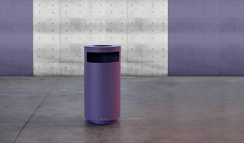 Abfallbehälter CIMA mit Ascher, RAL 4005 blaulila