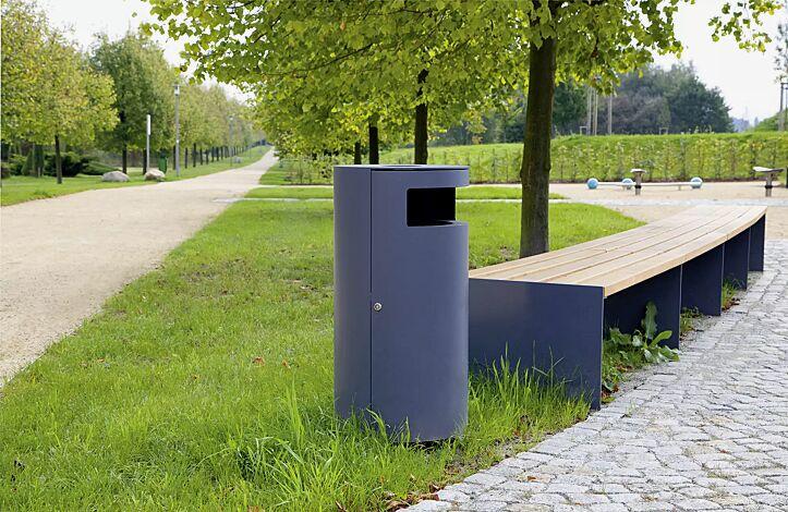 Abfallbehälter CIMA mit Ascher, in eisenglimmergrau