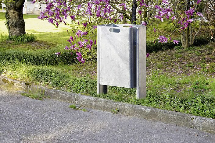 Abfallbehälter CORNER, 60 Liter, zum Einbetonieren, feuerverzinkt