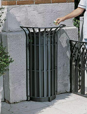 Abfallbehälter COROLLA, zum Aufdübeln, in RAL 7016 anthrazitgrau