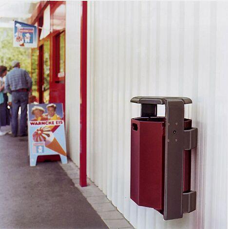 Abfallbehälter COVENTRY, zur Wandbefestigung, Behälter in RAL 3005 weinrot, Rahmen in RAL 8017 schokoladenbraun