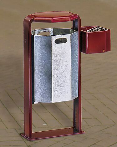 abfallbehälter COVENTRY mit Ascherbox, zum Einbetonieren, Behälter feuerverzinkt, Ascherbox und Rahmen in RAL 3005 weinrot