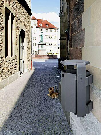 Abfallbehälter COVENTRY, zur Wandbefestigung, in DB 703 eisenglimmer