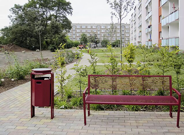 Abfallbehälter COVENTRY, zum Aufdübeln, mit Ascheraufsatz COVENTRY, in RAL 3005 weinrot