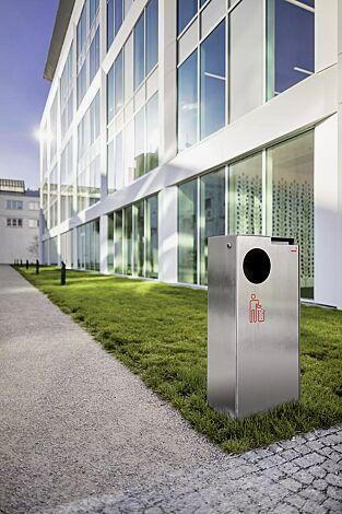 Abfallbehälter CRYSTAL mit Ascher, 55 Liter, ohne Einwurfklappe, Edelstahl, Siebdruck in RAL 3020 verkehrsrot