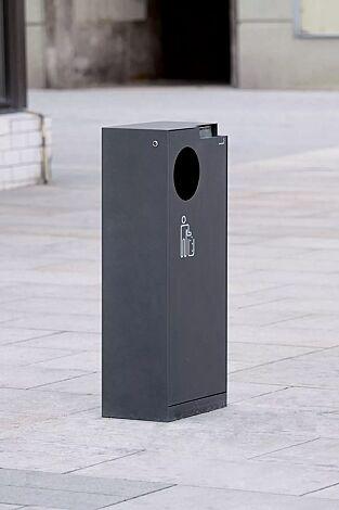 Abfallbehälter CRYSTAL TRIO mit Ascher, 55 Liter, ohne Einwurfklappe, in RAL 7016 anthrazitgrau, Siebdruck in RAL 9003 signalweiß