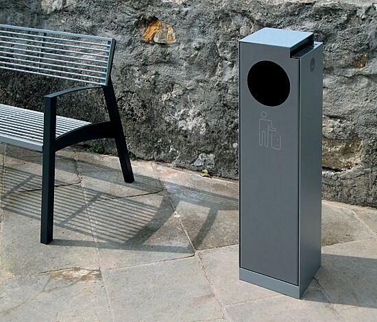 Abfallbehälter CRYSTAL mit Ascher, 32 Liter, ohne Einwurfklappe, in RAL 9007 graualuminium, Siebdruck in RAL 9006 weißaluminium