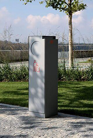 Abfallbehälter CRYSTAL mit Ascher, 32 Liter, mit Einwurfklappe, in RAL 9006 weißaluminium, Siebdruck in RAL 3020 verkehrsrot