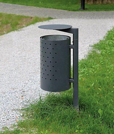 Abfallbehälter CYLINDRE mit Schutzdach, zum Aufdübeln, in RAL 7010 zeltgrau