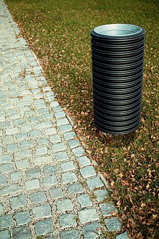 Abfallbehälter CYLINDRE, 35 Liter, mit Edelstahlsockel zum freien Aufstellen
