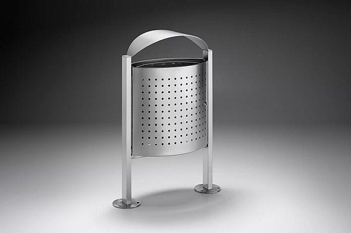 Abfallbehälter ELISEO aus Edelstahl, Tür geöffnet
