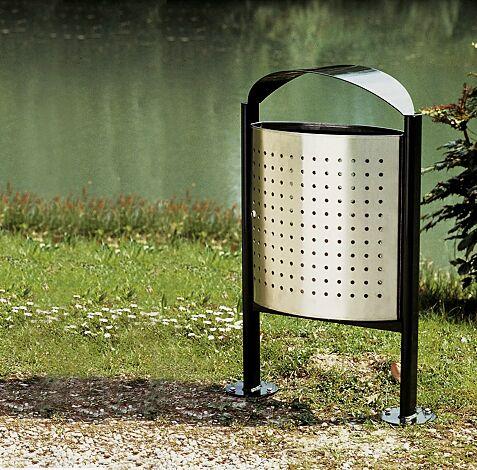 Abfallbehälter ELISEO, Behälter aus Edelstahl, Rahmen und Schutzdach aus Stahl in RAL 9005 tiefschwarz