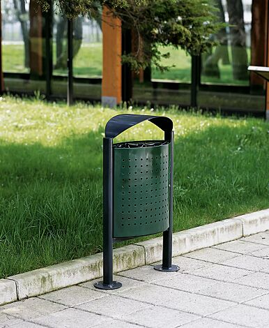 """<div id=""""""""container"""""""" class=""""""""container"""""""">Abfallbehälter ELISEO aus Stahl, Behälter in RAL 6005 moosgrün, Rahmen und Schutzdach in RAL 7016 anthrazitgrau</div>"""
