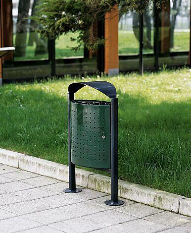 Abfallbehälter ELISEO, komplett aus Stahl, Behälter in RAL 6005 moosgrün, Rahmen und Schutzdach in RAL 7016 anthrazitgrau