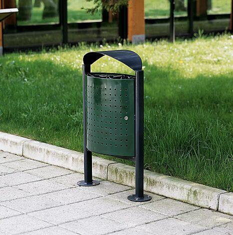 """<div id=""""container"""" class=""""container"""">Abfallbehälter ELISEO mit bogenförmigem Schutzdach, komplett aus Stahl, Behälter in RAL 6005 moosgrün, Rahmen und Schutzdach in RAL 7016 anthrazitgrau</div>"""