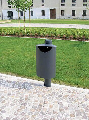 Abfallbehälter FIORE - UNO, zum Einbetonieren, in eisenglimmergrau