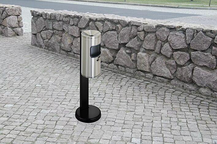 Abfallbehälter GLASGOW mit Ascher, aus Edelstahl, mit Standfuß zum freien Aufstellen (Zubehör)