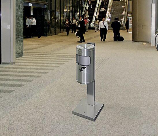 Abfallbehälter GLASGOW mit Ascher, aus Edelstahl, mit Standfuß zum Aufdübeln (Zubehör)