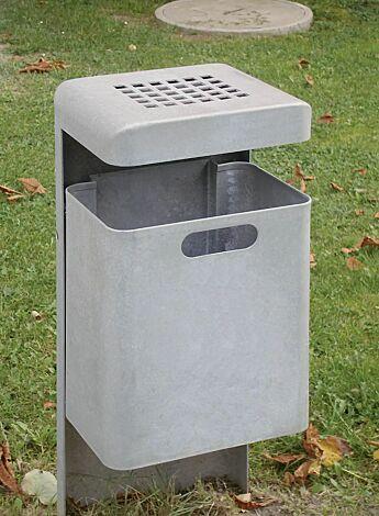 Abfallbehälter HALIFAX mit Ascher, zum Einbetonieren, feuerverzinkt