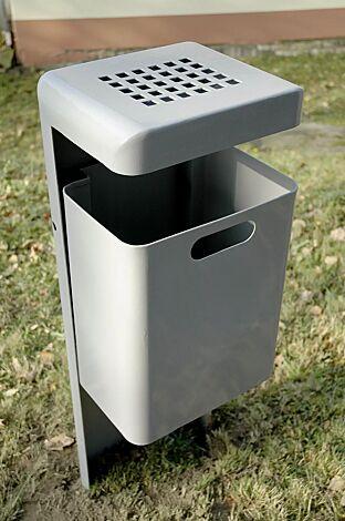 Abfallbehälter HALIFAX, 43 Liter, mit Ascher, zum Einbetonieren, feuerverzinkt